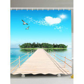 Seascape Heart Clouds Bridge Sun Shower Curtain