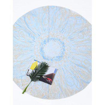 Round Tie Dye Flower Print Beach Throw - LIGHT BLUE LIGHT BLUE