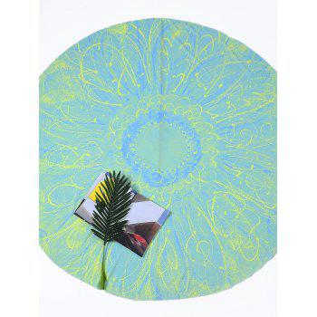 Round Tie Dye Flower Print Beach Throw - LIGHT GREEN LIGHT GREEN