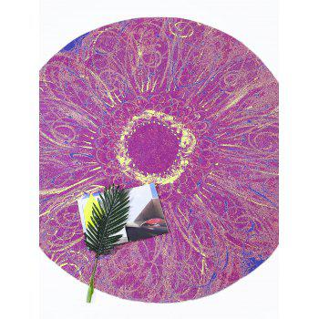 Round Tie Dye Flower Print Beach Throw - PURPLISH RED PURPLISH RED