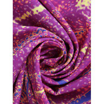 Round Tie Dye Flower Print Beach Throw - PURPLISH RED ONE SIZE