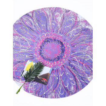 Round Tie Dye Flower Print Beach Throw