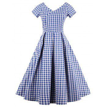V Neck Checked Flare Dress