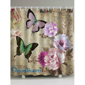 Retro Butterfly Flower Mouldproof Shower Curtain