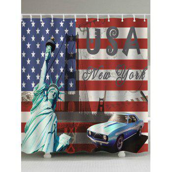Extra Long Patriotic American Flag Shower Curtain