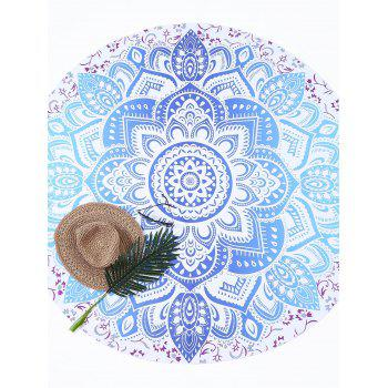 Lotus Flower Round Beach Throw - LAKE BLUE LAKE BLUE