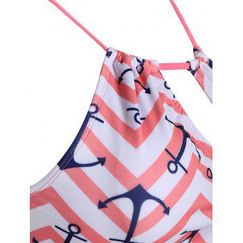 Keyhole Anchor Zigzag Plus Size Tankini Set - WATERMELON RED 3XL