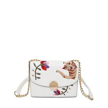 Embroidered Chain Flap Crossbody Bag