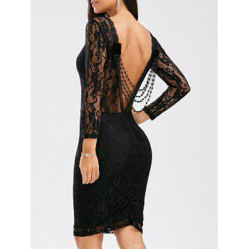 Sexy Long Sleeve Round Neck See-Through Backless Slimming Women's Dress