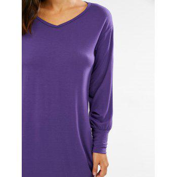 Stylish Plunging Neck Long Sleeve Pocket Design Solid Color Women's Dress - PURPLE XL