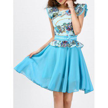 Ruffle Printed Chiffon Dress - LIGHT BLUE LIGHT BLUE