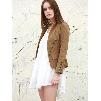 Stylish Lapel Collar Long Sleeve Structured Washed Women's Blazer - LIGHT COFFEE LIGHT COFFEE