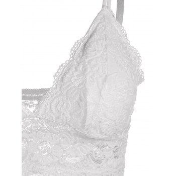Adjustable Strap Backless Padded Lace Tank Top - WHITE ONE SIZE