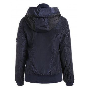 Stylish Hooded Long Sleeve Spliced Zip Up Women's Coat - PURPLISH BLUE M