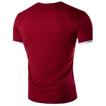 Men's Casual Solid Color Round Color Short Sleeves T-Shirt - WINE RED M