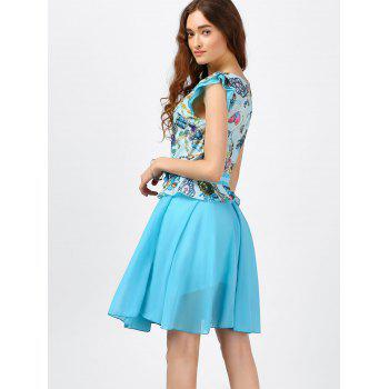 Ruffle Printed Chiffon Dress - LIGHT BLUE M