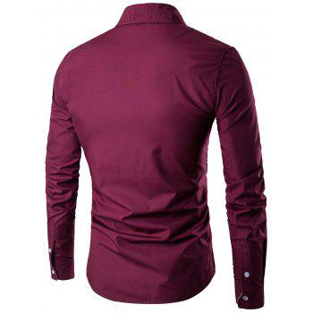 Two Tone Striped Long Sleeve Shirt - CLARET L