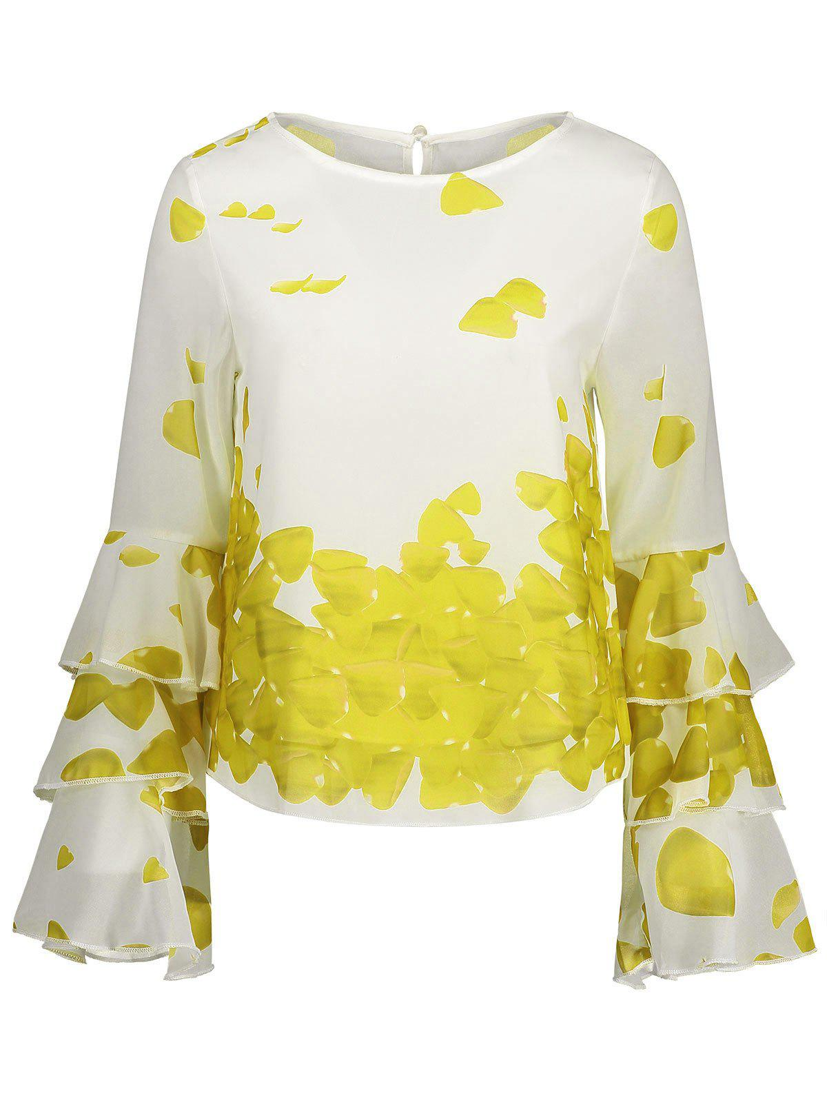 Bell Sleeve Printed Layer Blouse - YELLOW S