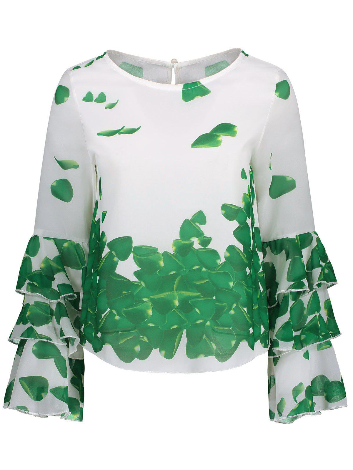 Bell Sleeve Printed Layer Blouse - GREEN 2XL
