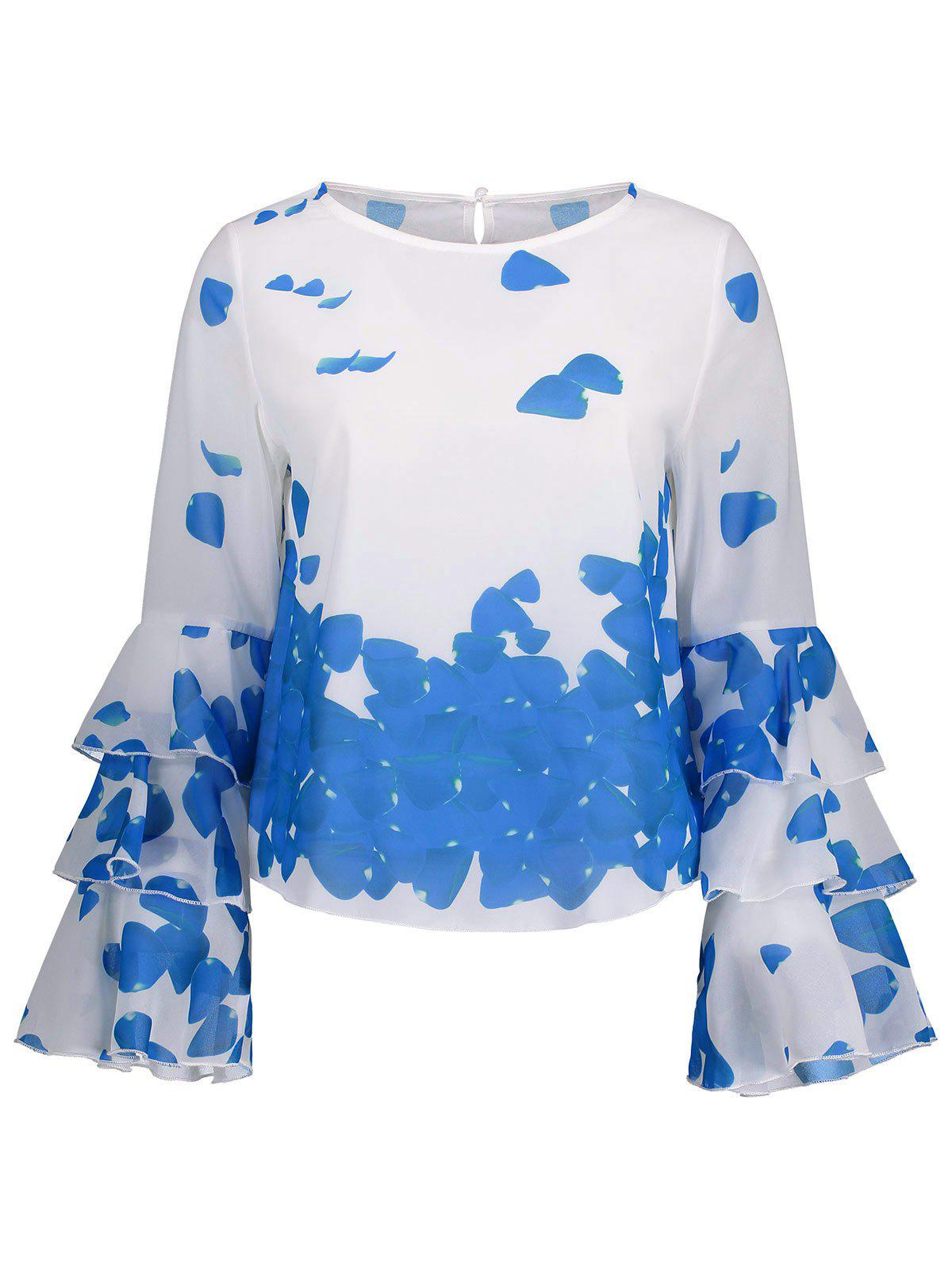 Bell Sleeve Printed Layer Blouse - BLUE S