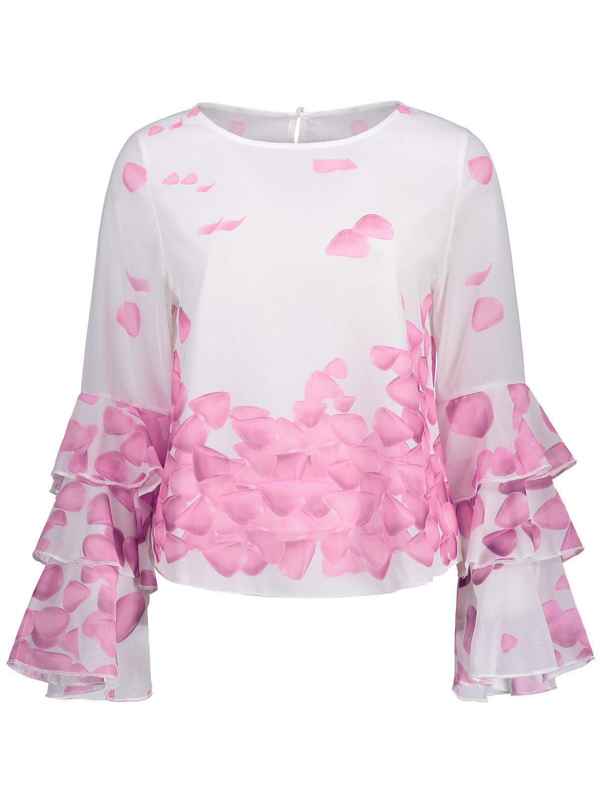 Bell Sleeve Printed Layer Blouse - PINK S