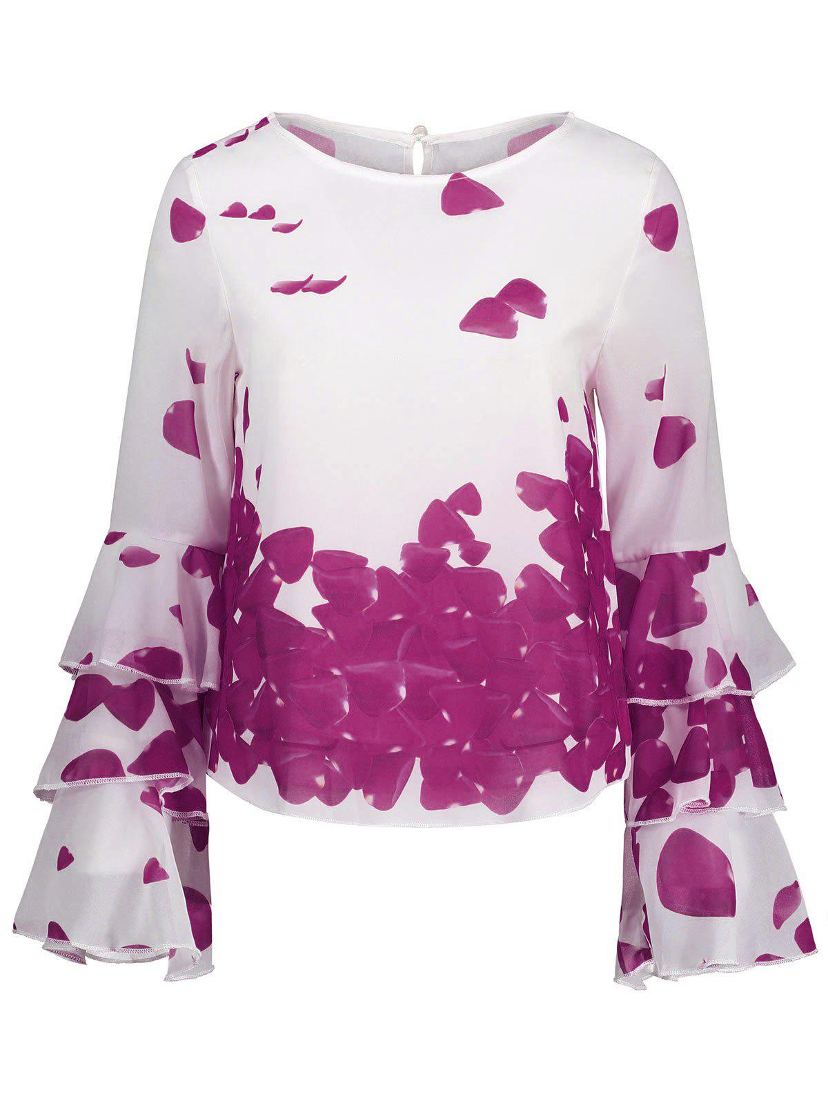 Bell Sleeve Printed Layer Blouse - PURPLE S