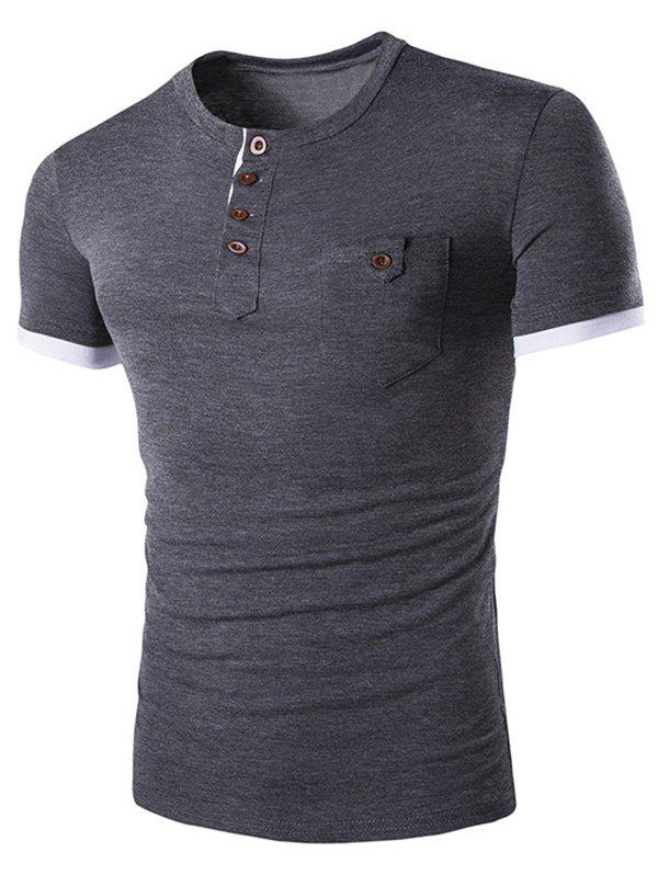 Men's Casual Solid Color Round Color Short Sleeves T-Shirt - DEEP GRAY M
