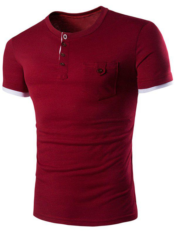 Men's Casual Solid Color Round Color Short Sleeves T-Shirt - WINE RED 2XL