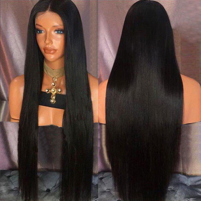 2018 Ultra Long Straight Middle Part Synthetic Wig NATURAL BLACK ...