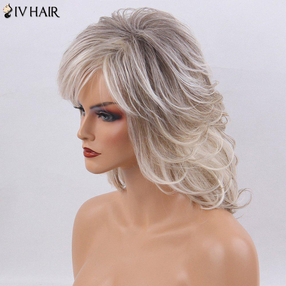Siv Hair Medium Shaggy Side Bang Naturel Straight Colormix Perruque Cheveux Humains - multicolorcolore
