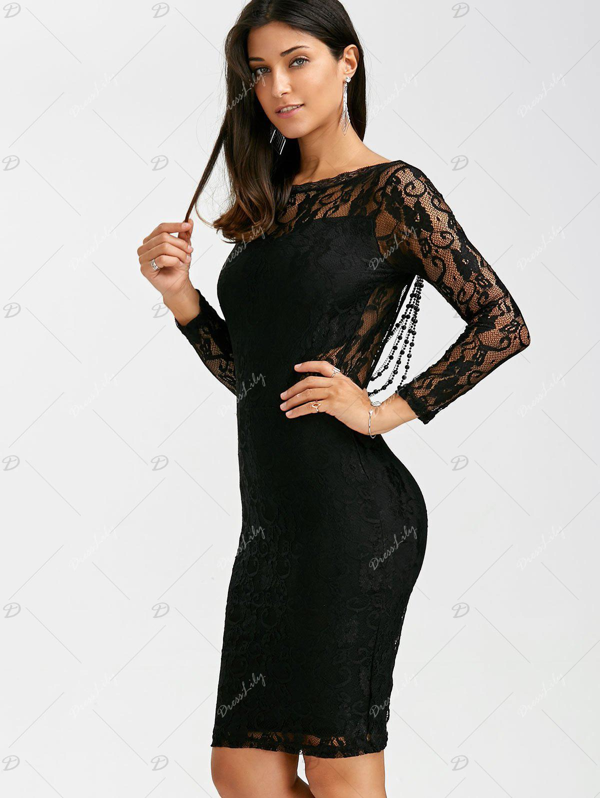 Sexy Long Sleeve Round Neck See-Through Backless Slimming Women's Dress - BLACK M