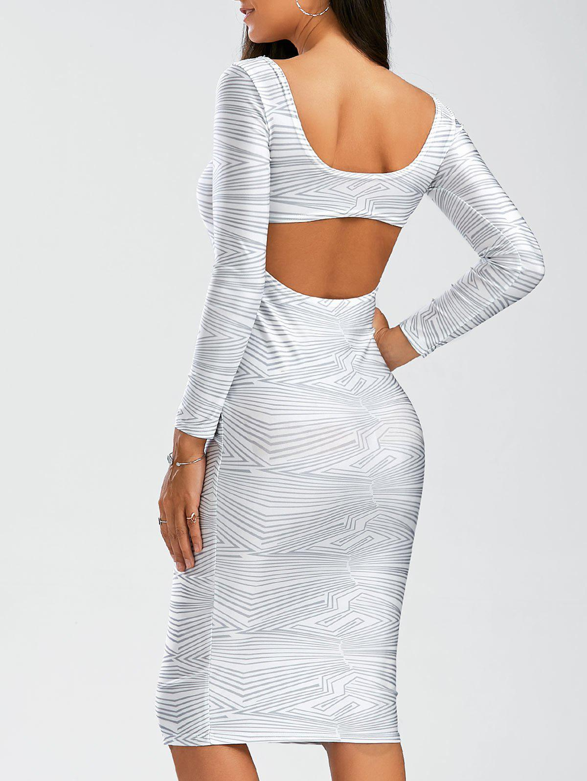 Sexy Scoop Neck Long Sleeve Backless Bodycon Women's Dress - WHITE L