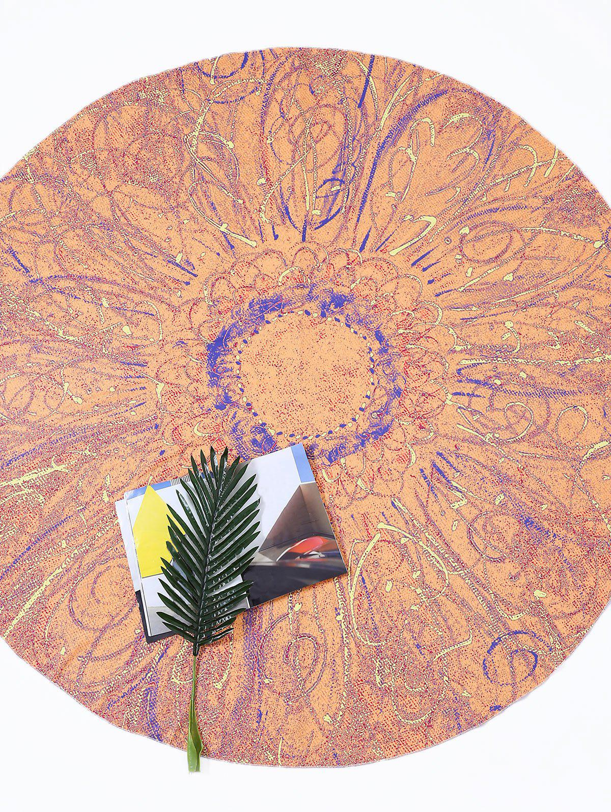 Round Tie Dye Flower Print Beach Throw - ORANGE ONE SIZE