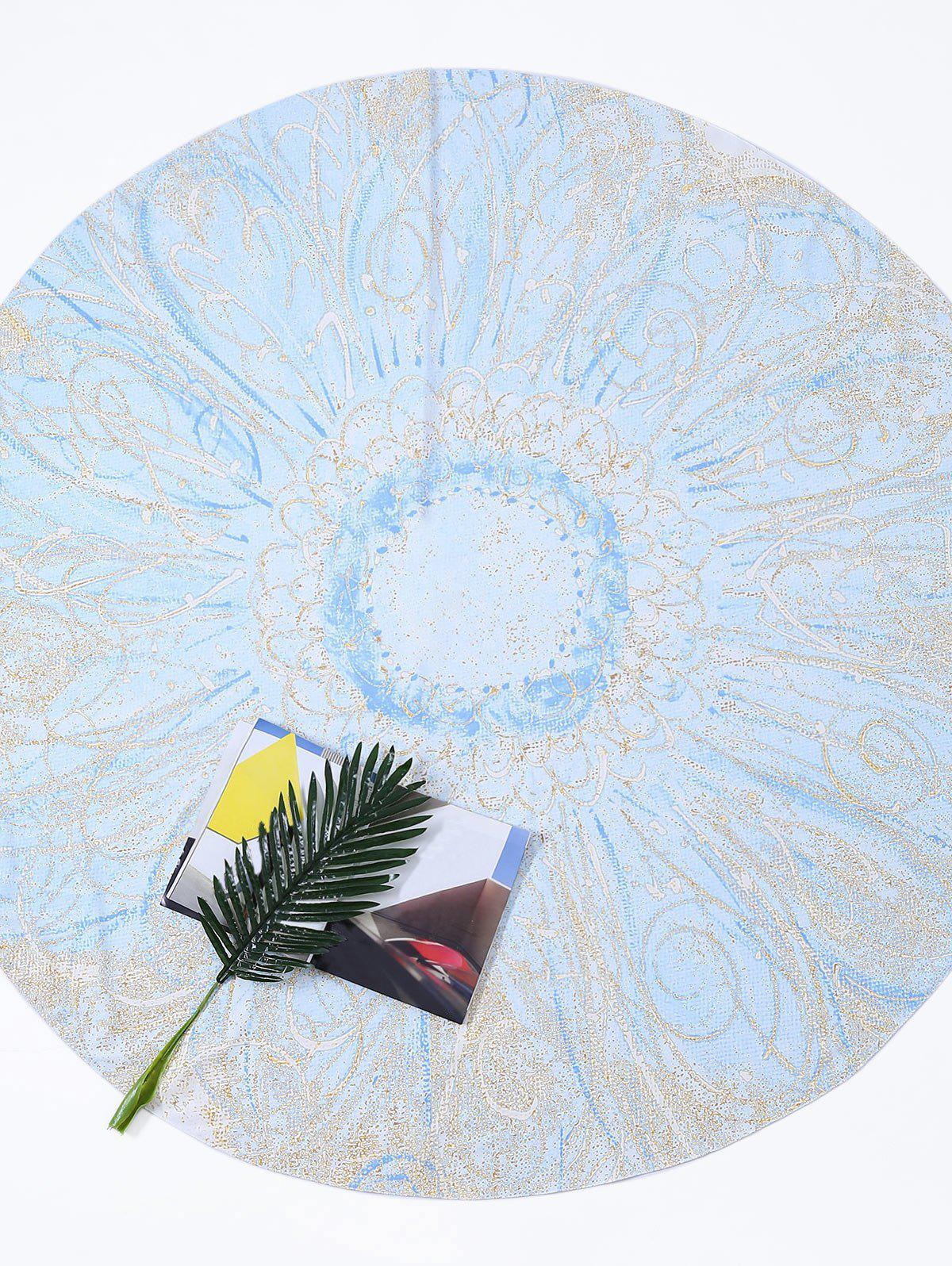 Round Tie Dye Flower Print Beach Throw - LIGHT BLUE ONE SIZE
