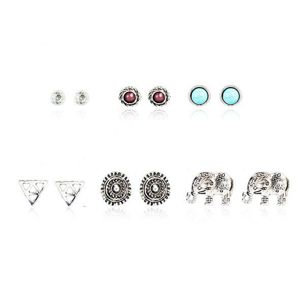 Rhinestone Faux Turquoise Elephant Stud Earring Set heart dreamcatcher moon stud earring set