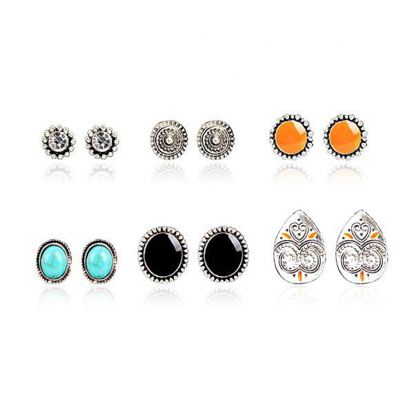 Rhinestone Artificial Turquoise Circle Stud Earring Set heart dreamcatcher moon stud earring set
