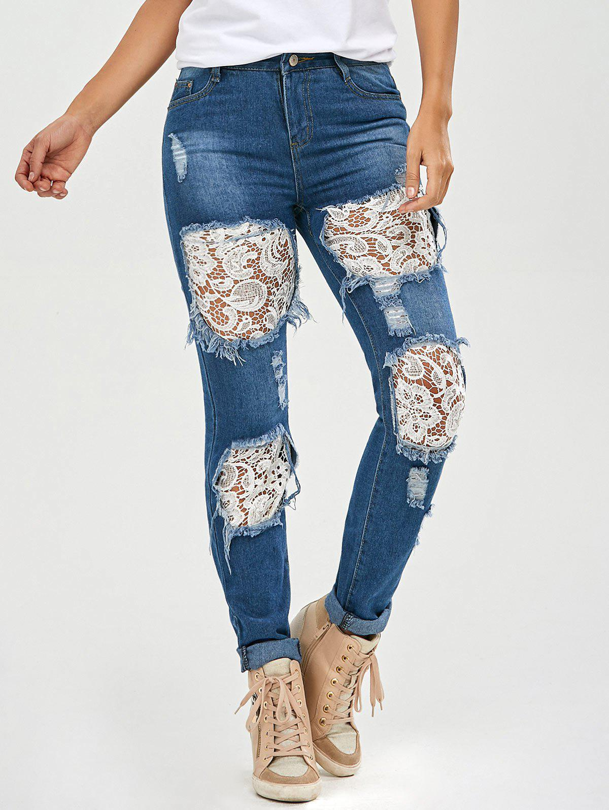 Lace Insert Skinny Ripped Jeans - DENIM BLUE S