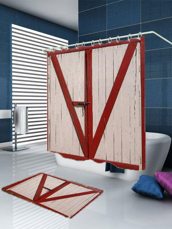 3D Wooden Door Shower Curtain - RED W71 INCH * L71 INCH & 2017 3D Wooden Door Shower Curtain RED W INCH L INCH In Shower ... pezcame.com