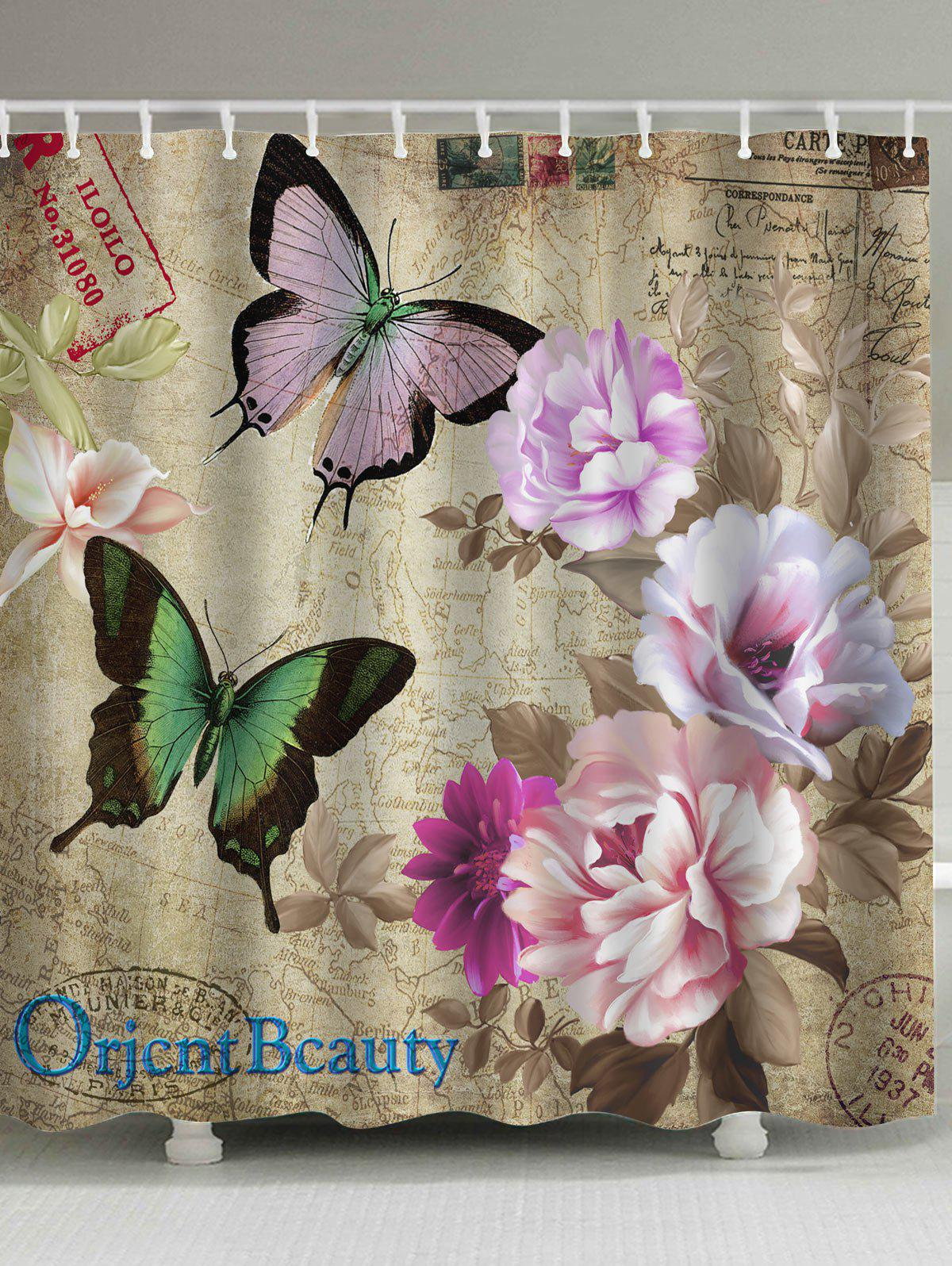 Retro Butterfly Flower Mouldproof Shower Curtain flower butterfly mantis water resistant shower curtain