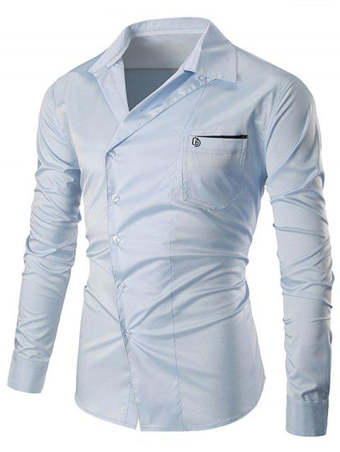 Embroidered Pocket Oblique Buttons Shirt - CLOUDY 3XL