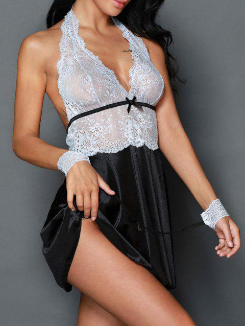 Halter Satin Insert Babydoll Outfit - Blanc S