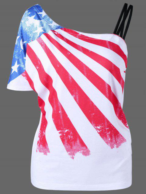 70fc973306e 41% OFF  2019 Plus Size Patriotic American Flag One Shoulder T-Shirt ...