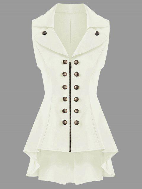 Double Breast Lapel High Low Dressy Waistcoat - OFF WHITE L