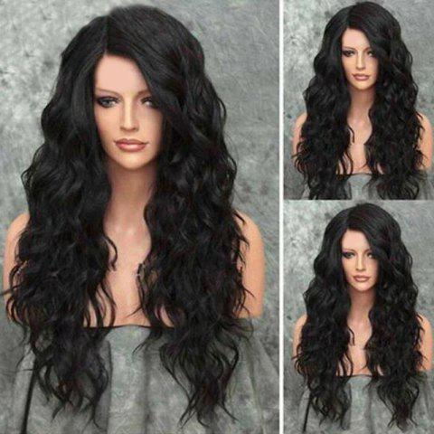 Long Side Parting Shaggy Wavy Heat Resistant Synthetic Wig - NATURAL BLACK