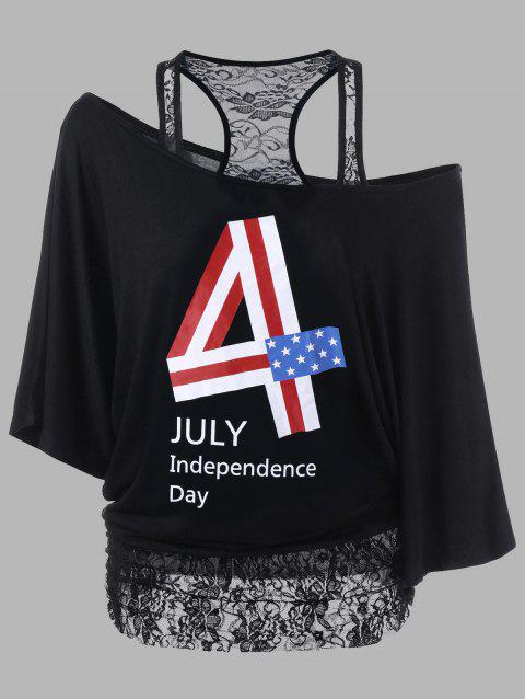 Lace Panel Plus Size Funny 4th of July T-Shirts - BLACK XL