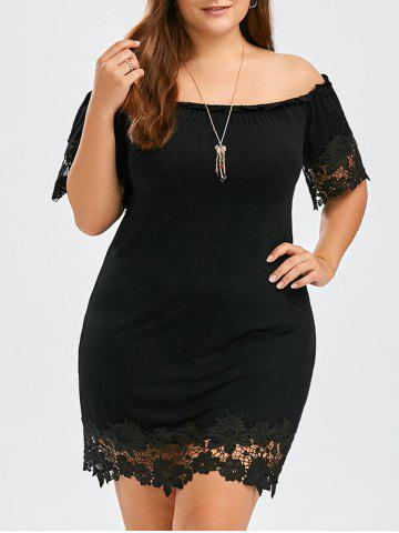 28cbac67088 Plus Size Off The Shoulder Lace Trim Short Bodycon Dress