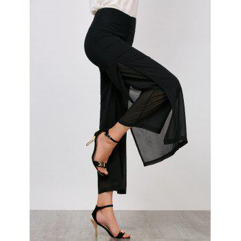 High Waisted Side Slit Wide Leg Pants