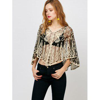 Dolman Sleeve Embroidered See Through Blouse - BLACK BLACK