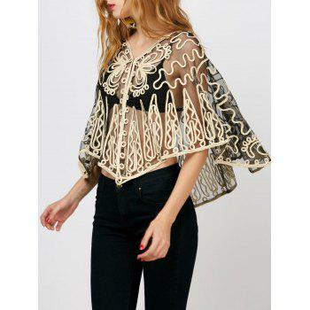 Dolman Sleeve Embroidered See Through Blouse