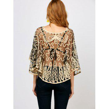 Dolman Sleeve Embroidered See Through Blouse - ONE SIZE ONE SIZE